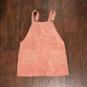 Baby pink corduroy overall dress
